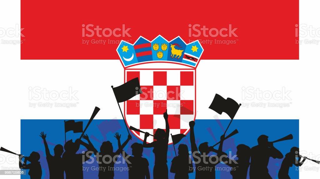 Croatian Fans and Flag vector art illustration