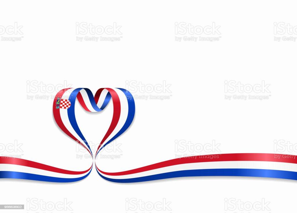 Cinta en forma de corazón de la bandera croata. Ilustración de vector. - ilustración de arte vectorial
