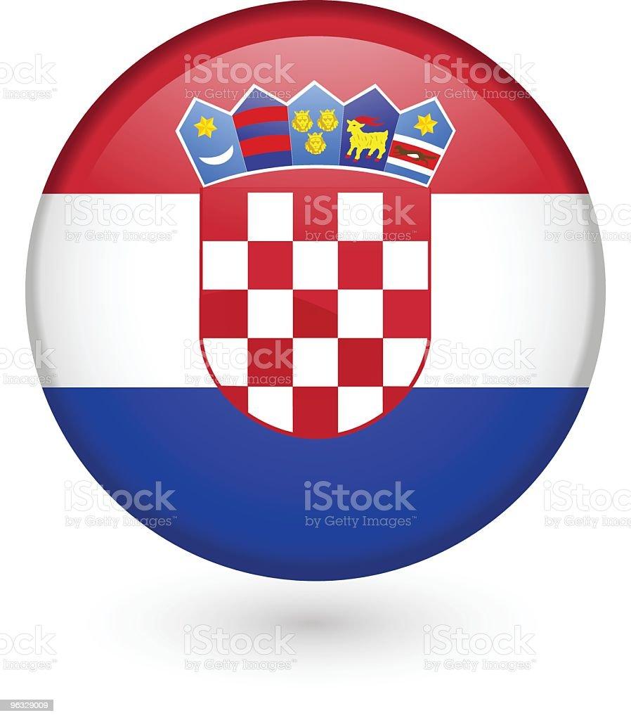 Bandera de croacia vector botón - ilustración de arte vectorial