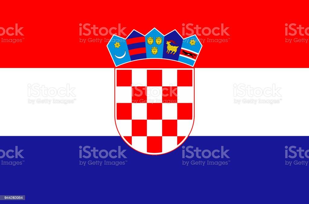 Bandera nacional croata, bandera oficial de colores exacta Croacia, color verdadero - ilustración de arte vectorial