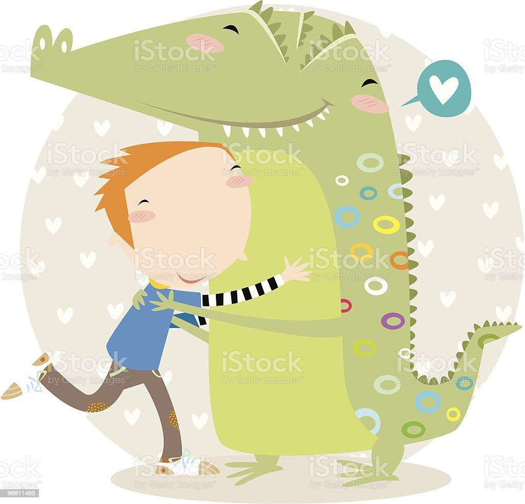 hug тиснением под крокодила. - Векторная графика В полный рост роялти-фри