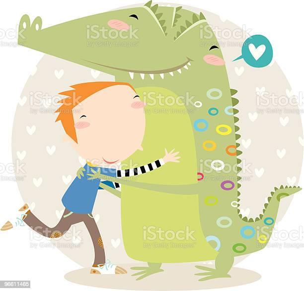Hug Тиснением Под Крокодила — стоковая векторная графика и другие изображения на тему Крокодил