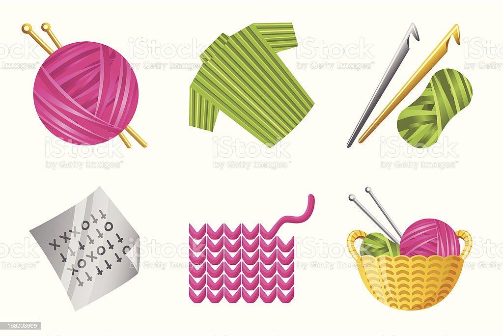 Crochet Icon Set royalty-free stock vector art