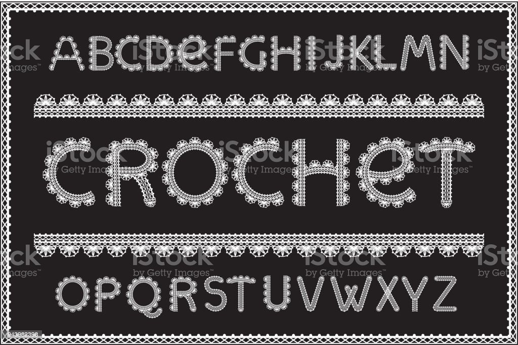 Crochet Letters Set Stock Vector Art More Images Of Alphabet
