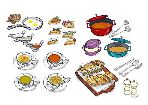 Crockery, dishes, skewers, snacks hand drawn set