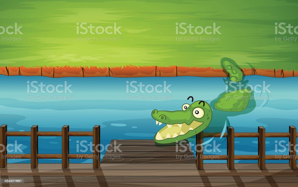 Crocodile and a bench royalty-free stock vector art