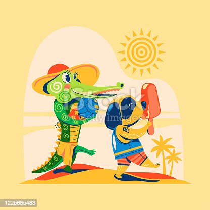 Crocodile and dog go to the beach for enjoy the summer and playing volleyball