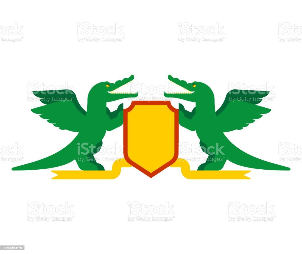 Crocodile And Shield Heraldic Symbol Royal Alligator For