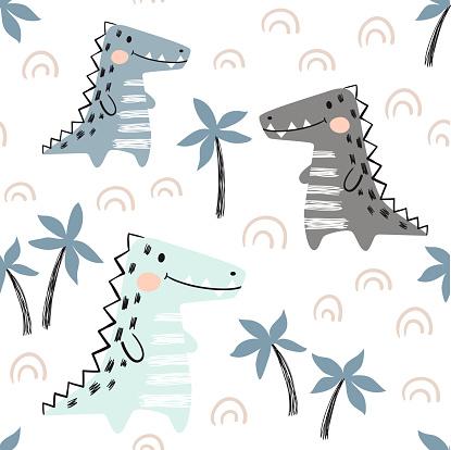 Crocodile baby seamless pattern. Dinosaur scandinavian cute print