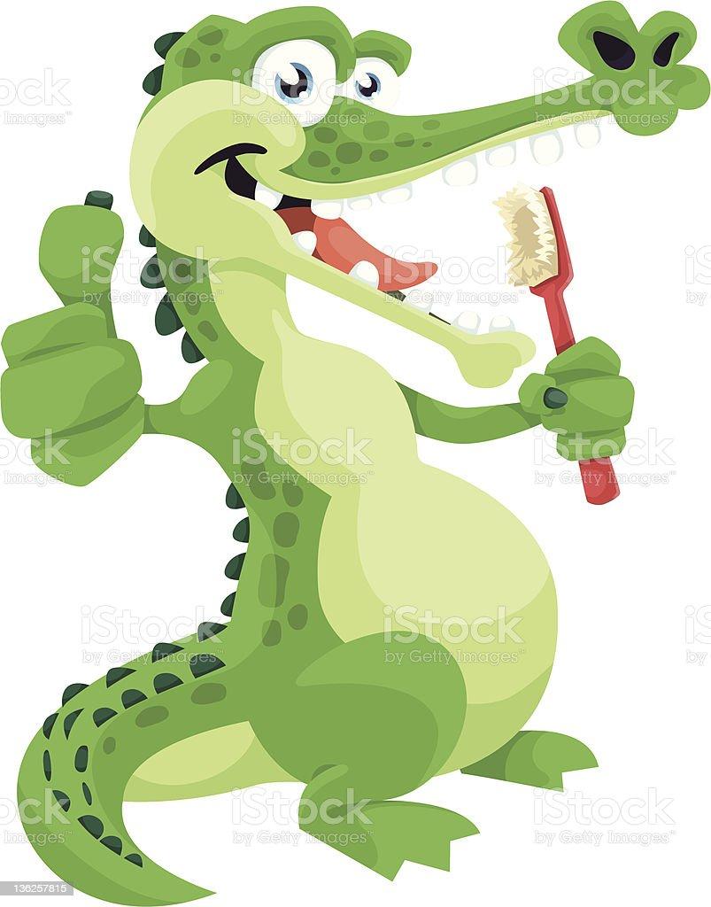 Crocodile Brushing Teeth vector art illustration