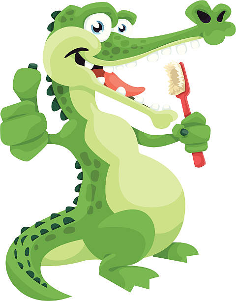 Crocodile Brushing Teeth vector art illustration