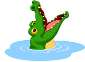 Crocodile cartoon open its mouth