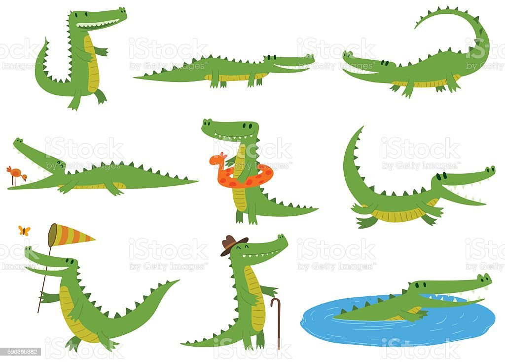 Crocodile character vector set. - Illustration vectorielle