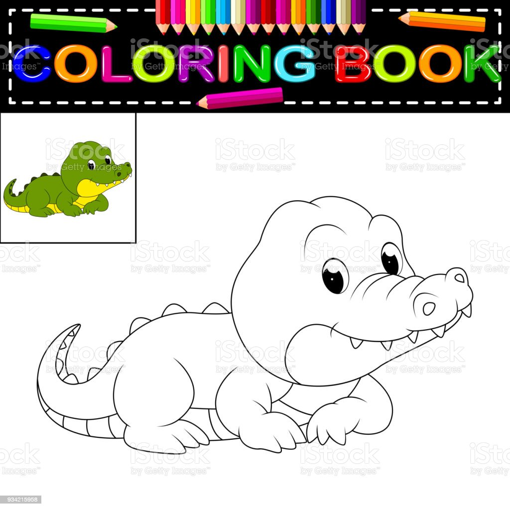 Livre De Coloriage Crocodile Vecteurs Libres De Droits Et