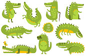 Crocodile Cute Character In Different Poses Childish Stickers. Animal Funny Stylized Character Flt Vector Illustration Set On White Background.