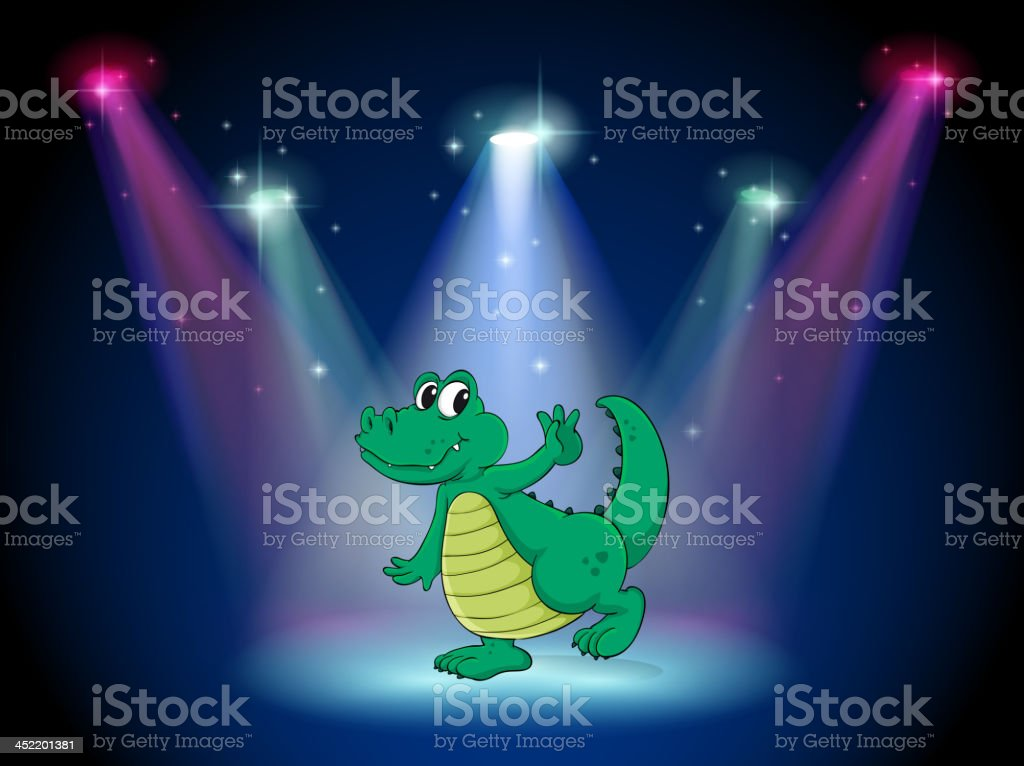 crocodile dancing in middle of the stage royalty-free crocodile dancing in middle of the stage stock vector art & more images of alligator