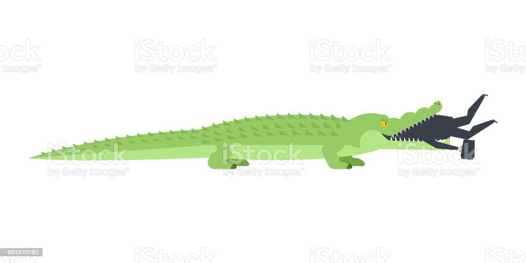 Geschäftsmann Krokodil Gefressen Alligator Offenem Mund Und Chef ...