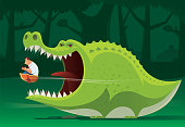 crocodile going to eat businessman with boat