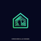 Crocodile Home Illustration Vector Template. Suitable for Creative Industry, Multimedia, entertainment, Educations, Shop, and any related business.