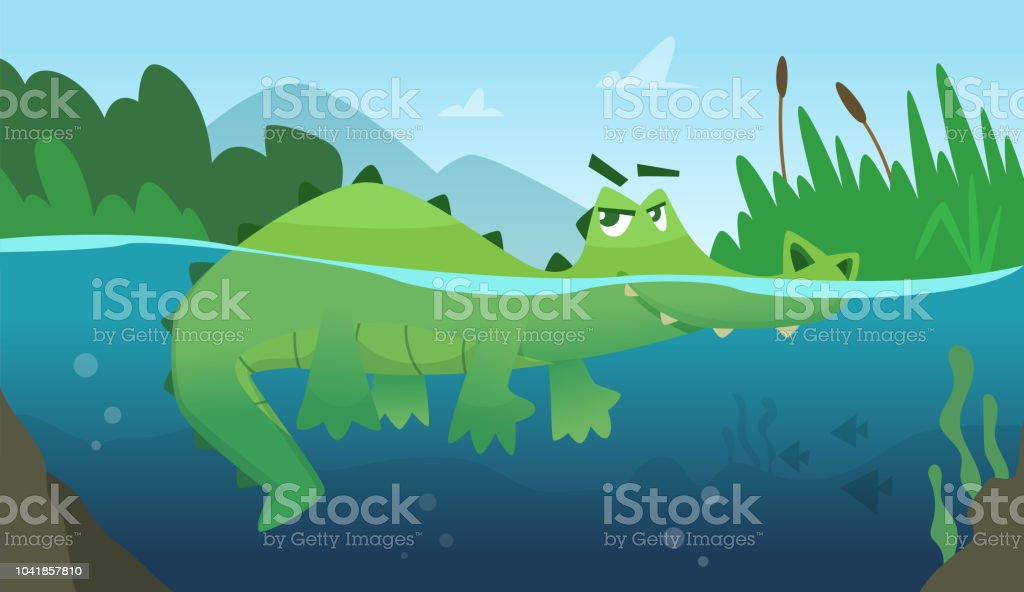 Crocodile in water. Alligator amphibian reptile wild green angry wild animal swimming vector cartoon background - Royalty-free Africa stock vector