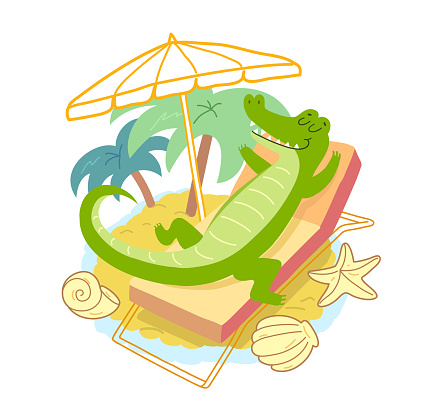 Crocodile laying under a beach umbrella. Smiling crocodile on summer vacation at sea.