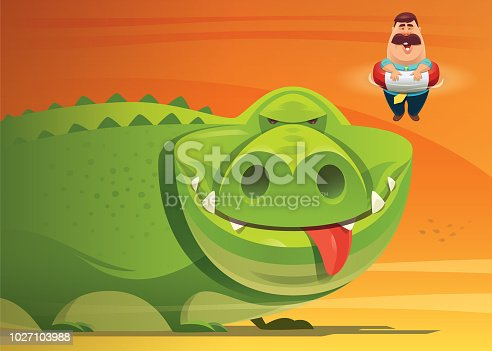 vector illustration of crocodile looking at fat man with buoy