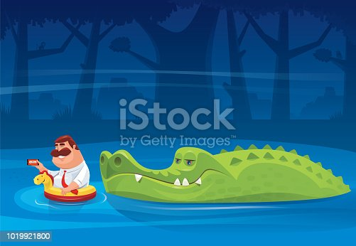 vector illustration of big crocodile looking at fat man with smartphone