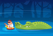 crocodile looking at fat man with smartphone
