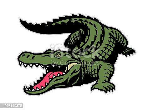 istock crocodile mascot in whole body 1297140376