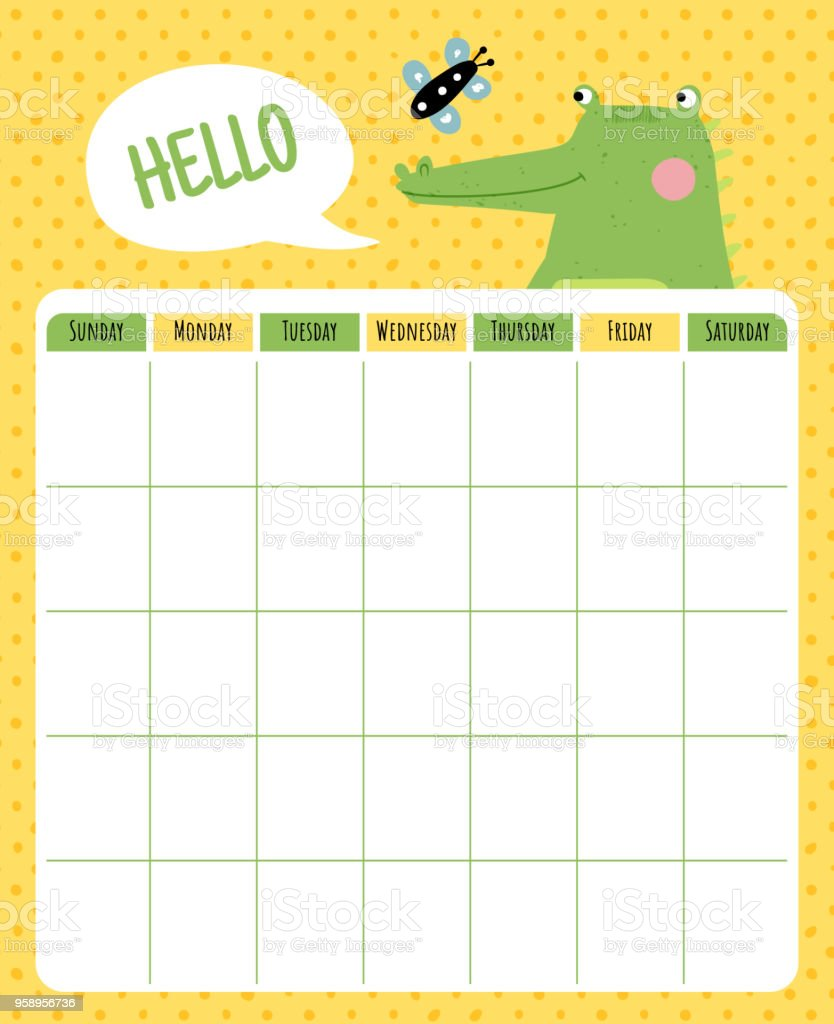 crocodile month planner vector art illustration