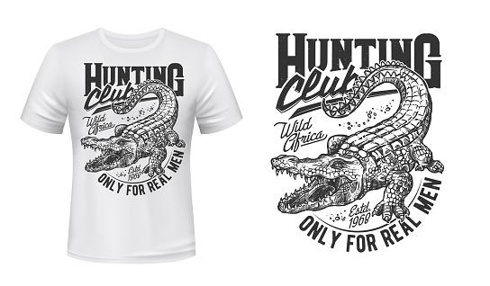 Crocodile or alligator hunt t-shirt vector print