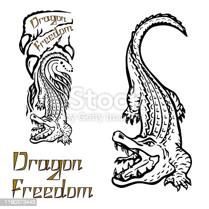 Crocodile outline with letters, freehand vector illustration of wild alligators or tattoo with the inscription, imprint on any surface