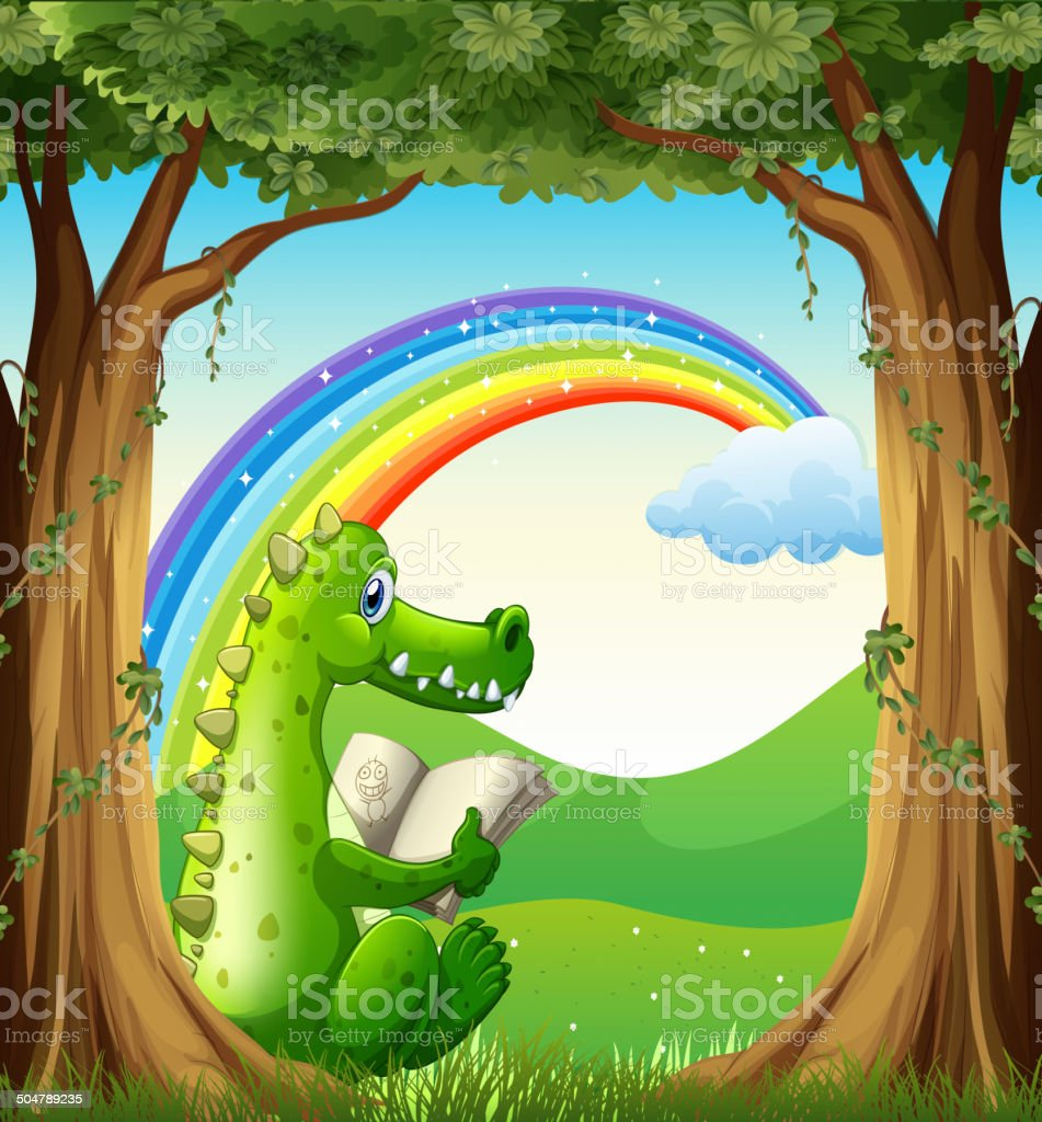 Crocodile reading under the tree below the rainbow royalty-free stock vector art