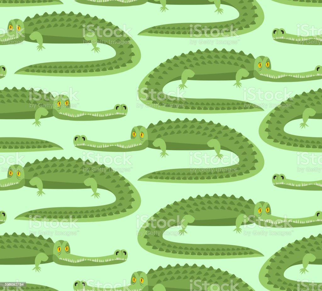 Crocodile seamless pattern. Good caiman ornament. Wild animal. G Lizenzfreies crocodile seamless pattern good caiman ornament wild animal g stock vektor art und mehr bilder von afrika