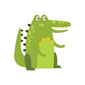 Crocodile Sitting Straight Like Man Flat Cartoon Green