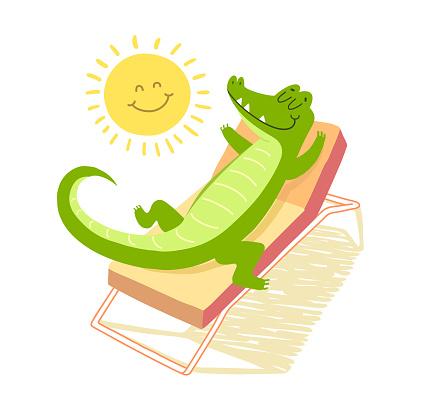 Crocodile sunbathing under the sun on a sunbed. Vacation concept. T-shirt illustration.
