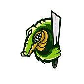 E-sports team logo template with crocodile vector illustration