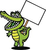 A crocodile's holding a sign. You can write a message in it. Please check out my other images :)