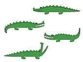 a cartoon crocodile in four different poses vector illustration