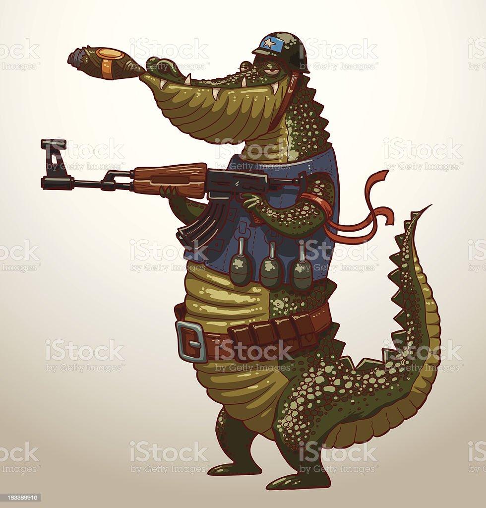 Crocodile with gun royalty-free stock vector art
