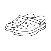 istock Crocs isolated on a white background. Beach sandals. Hand drawn vector illustration in Doodle style 1246564974