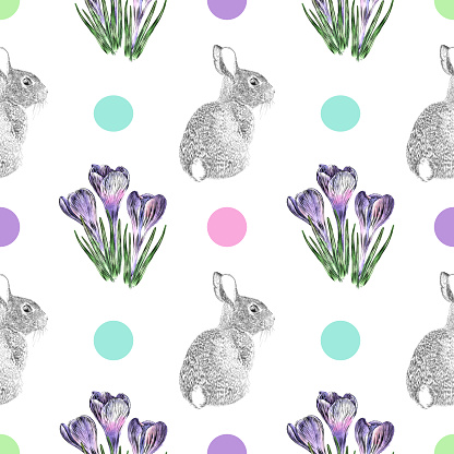 Crocus Flowers and Easter Bunny Pen and Ink Vector Seamless Pattern