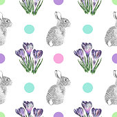 istock Crocus Flowers and Easter Bunny Pen and Ink Vector Seamless Pattern 1206899302
