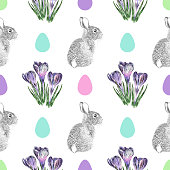 Crocus Flowers and Easter Bunny Watercolor and Ink Vector Seamless Pattern