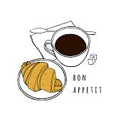 Croissant and a cup of coffee. Hand drawn vector illustration. Poster for a cafe, bakery, dining room.