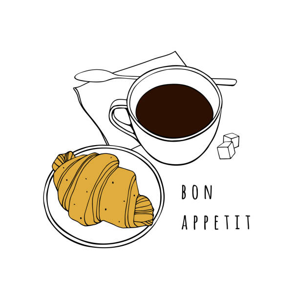 Croissant and a cup of coffee. Hand drawn vector illustration. Poster for a cafe, bakery, dining room. Croissant and a cup of coffee. Hand drawn vector illustration. Poster for a cafe, bakery, dining room. french culture stock illustrations