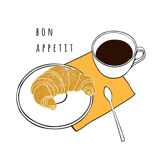 Croissant and a cup of coffee. Hand drawn vector illustration. Poster for a cafe, bakery, dining room. vector art illustration