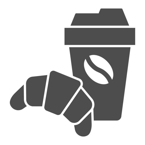 Croissant and cup of coffee solid icon, breakfast concept, Coffee break time with croissant sign on white background, paper cup with hot drink and croissant icon in glyph. Vector graphics. Croissant and cup of coffee solid icon, breakfast concept, Coffee break time with croissant sign on white background, paper cup with hot drink and croissant icon in glyph. Vector graphics french culture stock illustrations