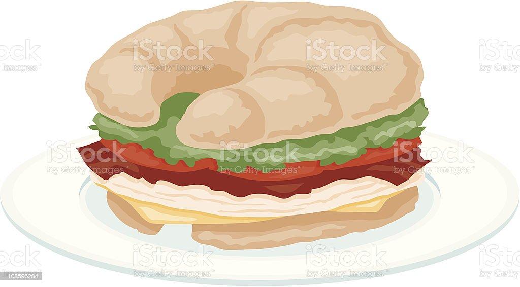 Croissant Sandwich royalty-free stock vector art
