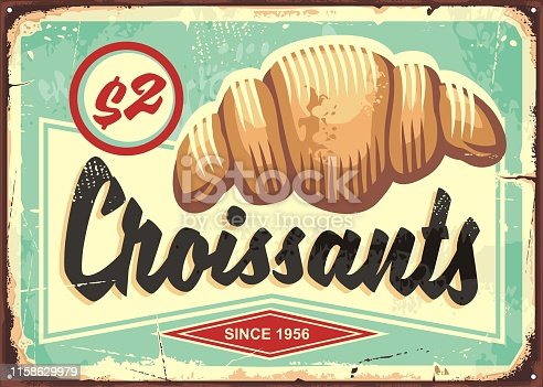 Croissants retro bakery sign. Food vector illustration